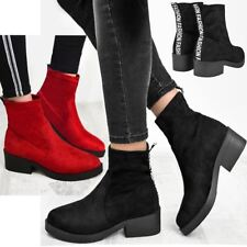 Womens Low Block Heel Chunky Ankle Boots Stretch Wide Leg Size