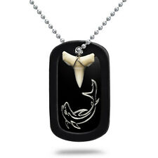 Real Shark Tooth Necklace Aluminum Dog Tag with Engraved Shark Design-AN110
