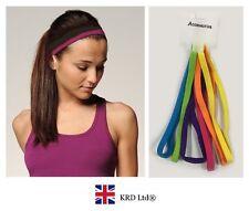 6 x Snag Free Elastic Head Bands Hairbands Ladies Girls School Gym Sports BRIGHT