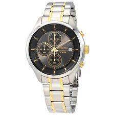 New Seiko Men's Black Dial Chronograph Two Tone Stainless Steel Watch SKS543