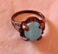 Ancient  Genuine Ring Bronze Antique Glass Blue Beauty Authentic Old