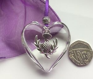 SCOTTISH THISTLE - CLEAR GLASS HEART HANGING DECORATION - Gift Purple
