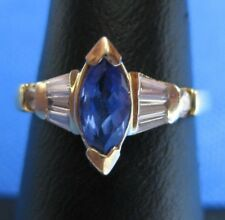 14K YELLOW GOLD IOLITE AND DIAMOND RING SIZE 5.5