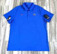 Nike Florida Gators NCAA Dri Fit Blue Short Sleeve Sports Polo Shirt Mens 2X