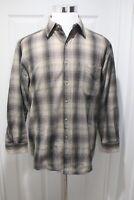 Pendleton Shadow Plaid Flannel Shirt Black Gray Size M Virgin Wool Loop Collar
