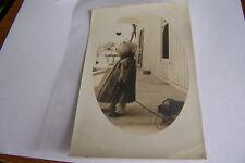 Rare Antique Vintage RPPC Real Photo Postcard Little Girl In Fur Coat + Wagon