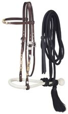 Western Browband Headstall w/ Rawhide - Bosal and Mecate Rein Set - Dark Oil