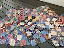 Lot Of 18 Vintage Hand Pieced Feedsack Fabric Bowtie Quilt Block