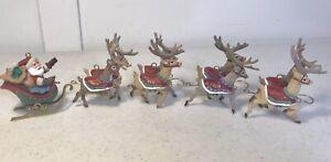 Hallmark Keepsake Ornaments 1992 Santa And His Reindeer Complete 5pc Set Mint Bx