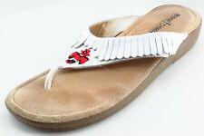 Minnetonka Flip Flops White Leather Women Shoes Size 10 Medium (B, M)