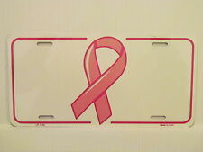 BREAST CANCER RIBBON METAL AUTO TAG LICENSE PLATE