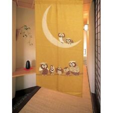 JAPANESE Noren Curtain NEW GOLD MOON OWL FROM JAPAN