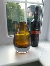 Large Riihimaki/Riihimaen Lasi Oy amber ovoid vase by Tamara Aladin