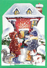 12 Carol Singers Pull-out Die-cut Christmas Card XC0041