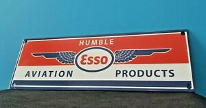 VINTAGE ESSO AVIATION PRODUCTS PORCELAIN GAS OIL AIRPLANE SERVICE STATION SIGN