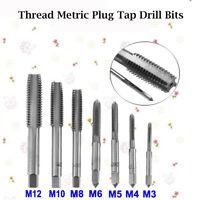 7x Genuine M3 M4 M5 M6 M8 M10 M12 HSS Thread Metric Plug Tap Drill Bits 7pcs Set