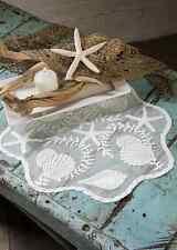 "Heritage Lace White TIDEPOOL Round Doily 20"" -Seashells, Beach, Coastal"