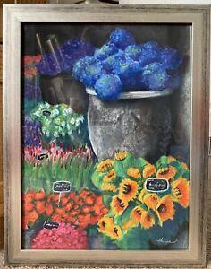 ORIGINAL SIGNED ART PAINTING PASTEL IMPRESSIONISM FLOWER MARKET