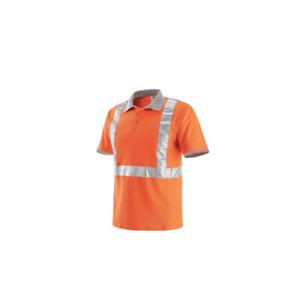 Polo de travail orange à manches courtes haute visibilité avec bandes réfléchiss