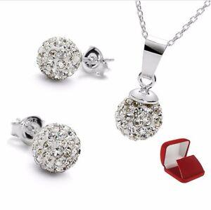 Damen Set Ohrstecker Halskette 925 Sterling Silber Kristall Kugel Weiß
