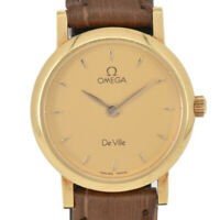 Auth Omega Deville Round 18K Yellow Gold/Leather Quartz Women's Watch C#91570
