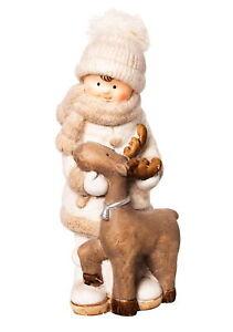Dekofigur Winterkind mit Rentier 25,5cm Weihnachtsdeko Figur Garten Innenbereich