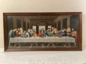 LARGE Vintage PBN The Last Supper Painting Wood Frame