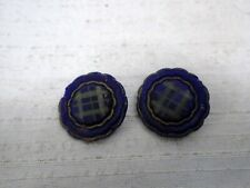 Pair of Antique Blue Glass Scottish Tartan Buttons Brass Shanks