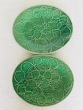 Lot 2 Beautiful Bordallo Pinheiro Green Strawberry Large Oval Serving Platter 34