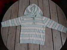 Pull à capuche manches longues rayé bleu/vert très clair et gris Taille 4 ans