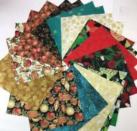 "26 Christmas precut 10"" squares Gold Metallic, quilting crafts cotton Fabric"
