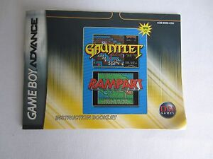Game Boy Advance Gauntlet Rampart Instruction Booklet MANUAL ONLY