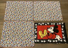 Vintage Lot Of 4 Disney Mickey Mouse Pillow Case + 3 Large Shams Bedding