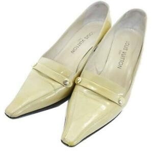 Louis Vuitton Pumps Heels Shoes Patent Leather Yellow 37 1/2 Auth USED #1964A