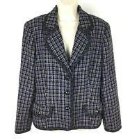 Kasper Tweed Blazer Size 16 Black Purple Women's Suit Jacket Career