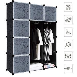 DIY Kleiderschrank Steckregal mit Türen Regalsystem Kleiderschrank Garderobe DHL