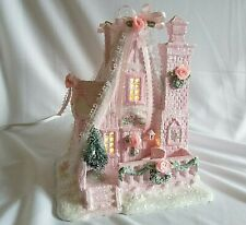 Pink Christmas Village Lighted House A FRAME COTTAGE Hand Painted Roses GLITTER