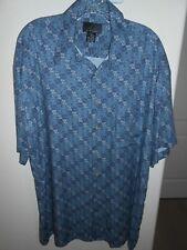 J. Ferrar Mens Blue Short Sleeve Button Front Shirt Size L FREE SHIPPING!
