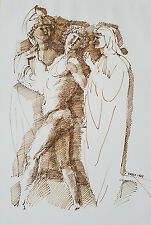 Mid Century Ink Drawing of Nude w/ Classical Figures, Signed Greco 1963