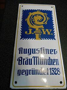 J.W. Augustiner Bräu München Email Kneipen Pinten Bier Brauerei Tür Schild 10x20