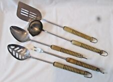Vintage Mid Century ANDROCK 5 Pc Utensil Set Stainless Steel Wood Handles