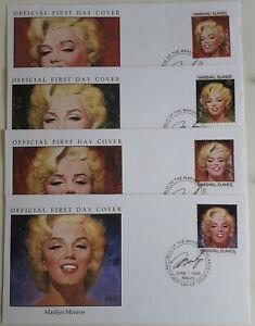MARSHALL ISLANDS 1995 FDC Marilyn Monroe x 4 x 75c