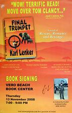 """KARL LENKER Author SIGNED """"Final Trumpet"""" BOOK SIGNING ORIGINAL POSTER COA"""