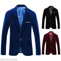 New Fashion Velvet Men's Slim Blazer Jacket One Button Suit Coat Formal Dinner