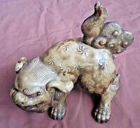 Japanese Antique Porcelain Pottery Shishi Lion Okimono Figurine Meiji Old Japan