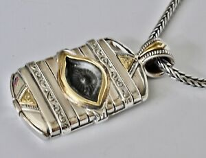 """Konstantino Mens Ferrite Evil Eye Pendant Necklace Sterling Bronze  22"""" New"""