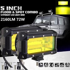 2pcs New 3000K DC 10-30V Work Light Bar Amber Fog Light Flood Beam Boat ATV