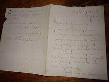 1872.Lettre  autographe à Zaccone.Paul de Lascaux