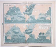 1899 LARGE WEATHER METEOROLOGY MAP WINDS OVER THE OCEANS WIND FORCE SPEED