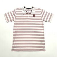 Nike Stanford Cardinals Dri-Fit Golf Polo Striped Shirt, Mens Size M, Red White